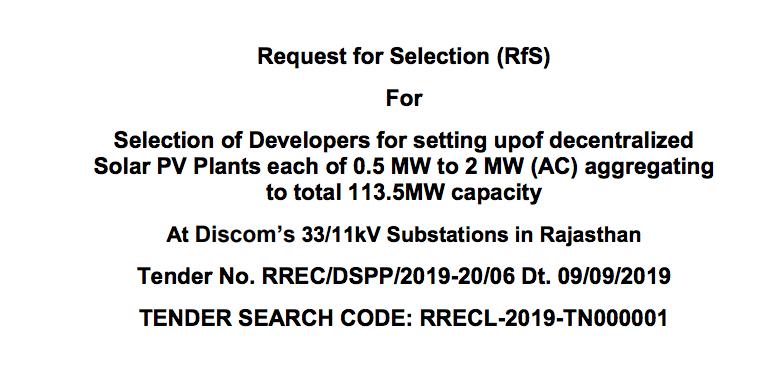 Tender for 113.5 MW At Discom 33-11kV Substations in Rajasthan