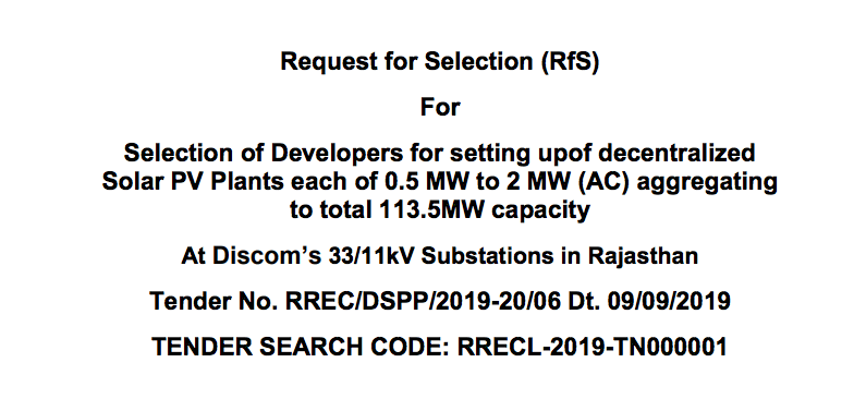 Tender for 113.5 MW At Discoms in Rajasthan