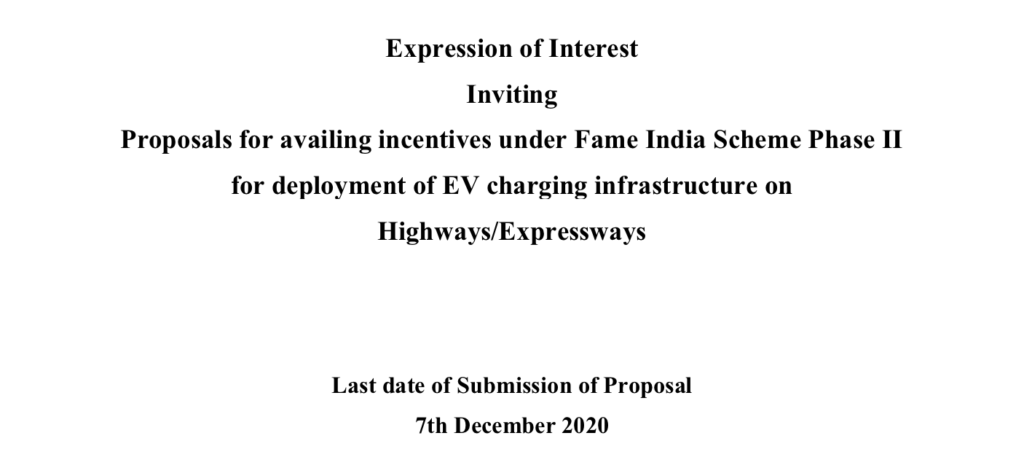 EOI for Ev Charging Infra Structure on Highways